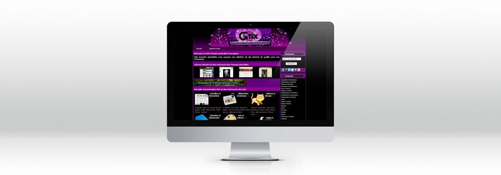 Gtix interface iMac Web design