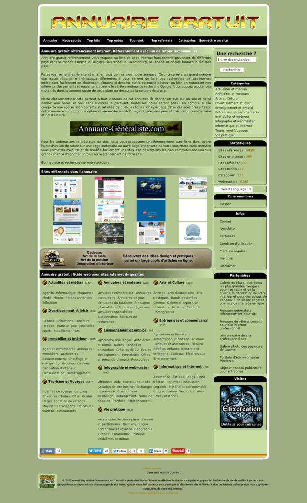 Annuaire gratuit pour le référencement de site internet
