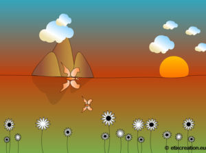 Animation de papillons multicolors dans un paysages, animation Flash par Stéphane Thirion étix infographiste