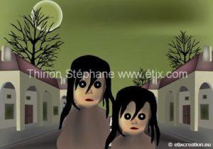 Rue sombre avec personnages