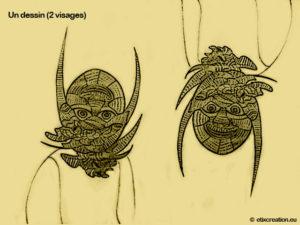 Un dessin deux visage une illustration de Stéphane Thirion illustrateur infographiste province de Luxembourg Beligique. Illustration et colorisation