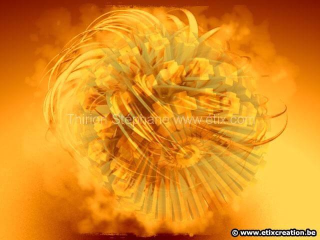 Conception de boule mécanique en flamme image de synthèse