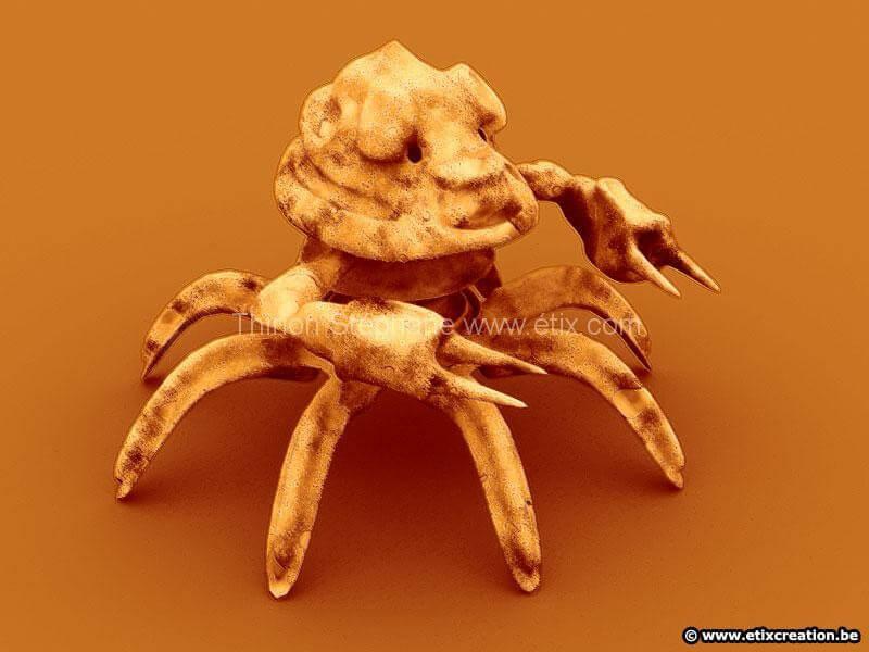 Modelisation de crabe cartoon en image de synthese 3d infographie