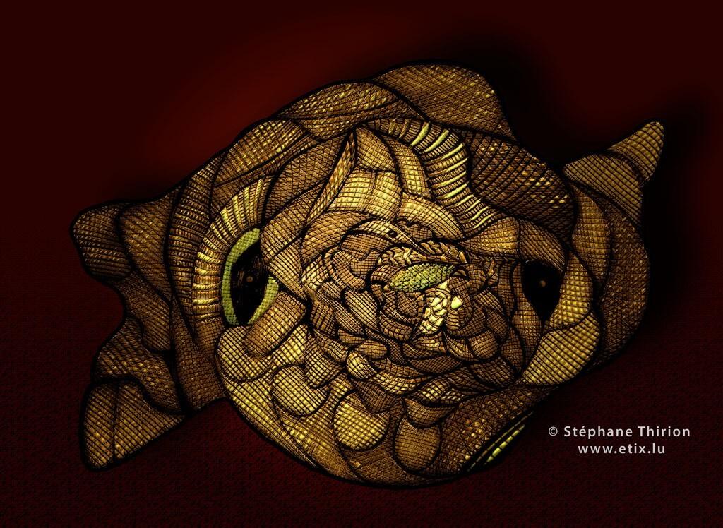 Poisson en or et masque alien dessin réversible au feutre et retouche Photoshop 2 sens par Stéphane Thirion