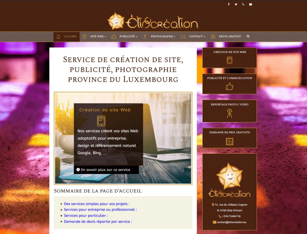 Création de site web et logo etixcreation 2019 webmaster webdesigner virton arlon luxembourg