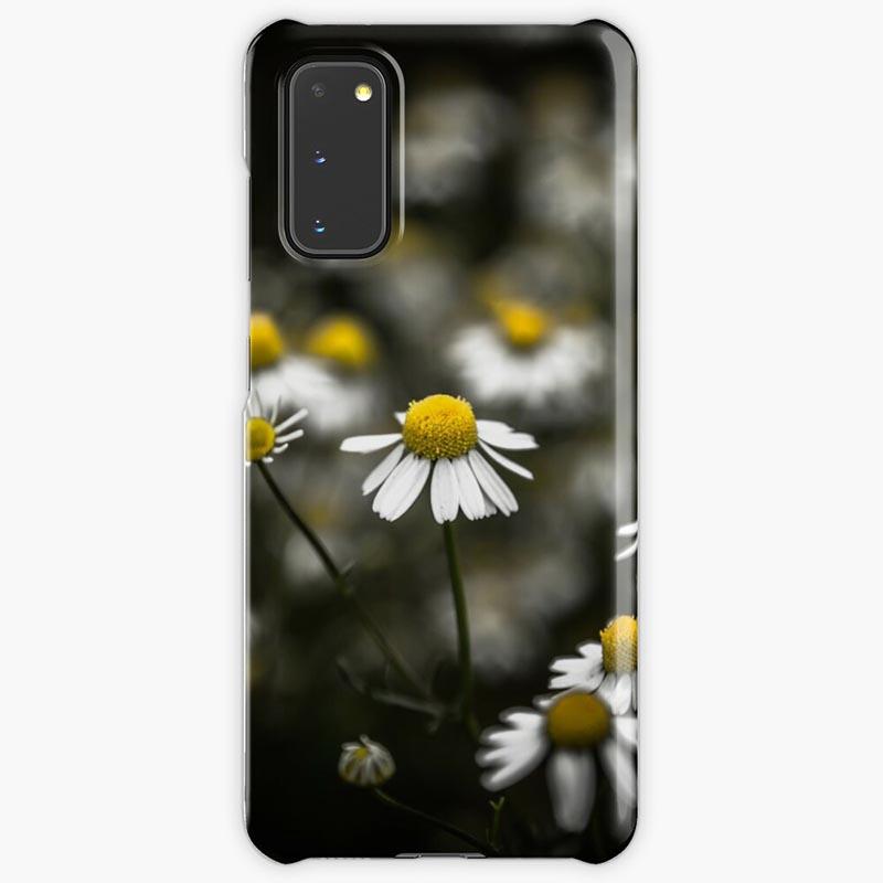 Coque Samsung marguerite fond noir
