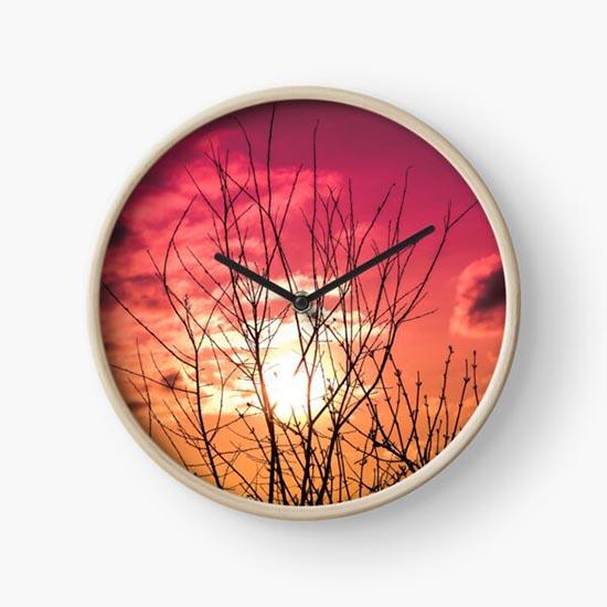 Horloge silhouette arbre