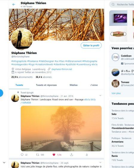 Stéphane Thirion Twitter Photographe SEO SEA SMO freelance