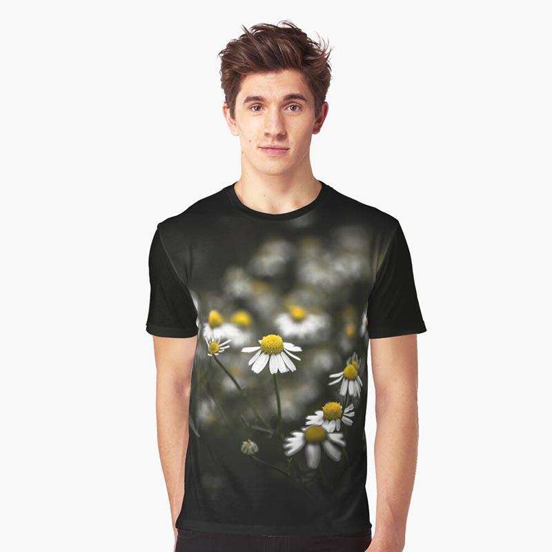 T-shirt homme marguerite fond noir
