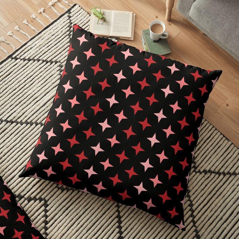 Vente coussin motif étoile rouge