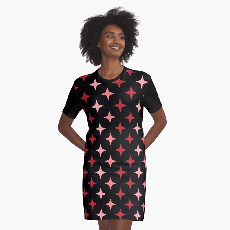 Vente de robe motif étoile rouge