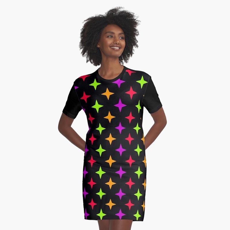 Vente robe motif étoile multicolore