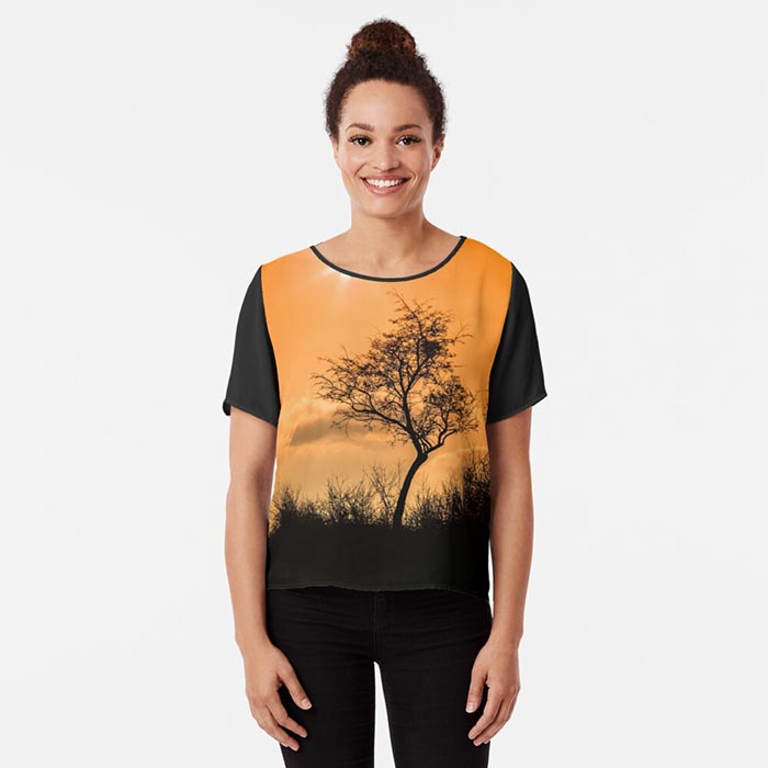 t-shirt femme silhouette arbre